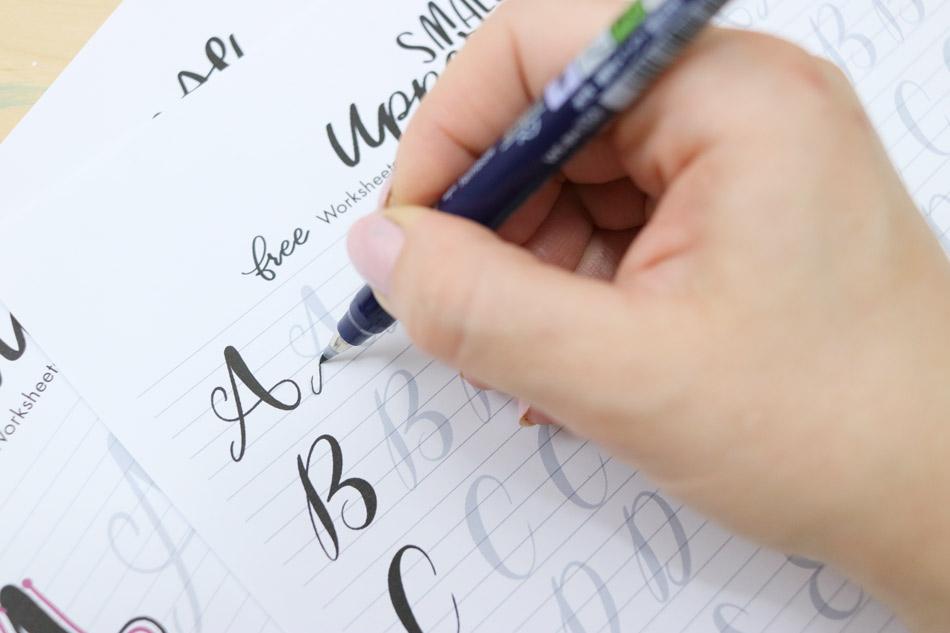 tombow fudenosuke brush pen lettering worksheets