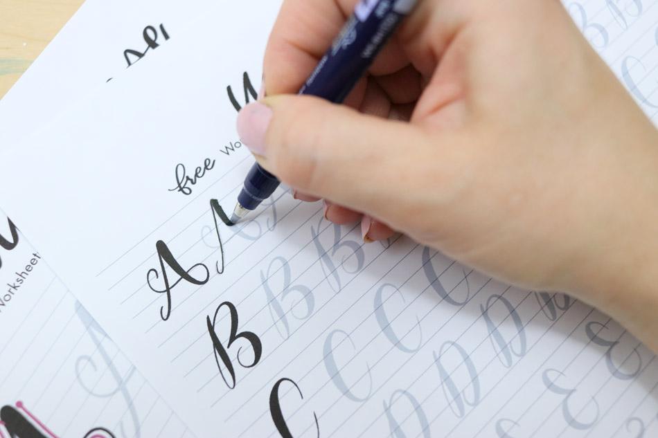tombow fude brush pen lettering worksheets
