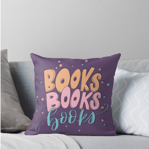 books throw pillow book lover reading literary library