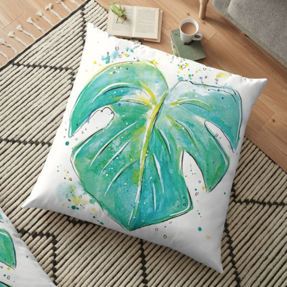 monstera plant leaf watercolor painting print wall art and pillow