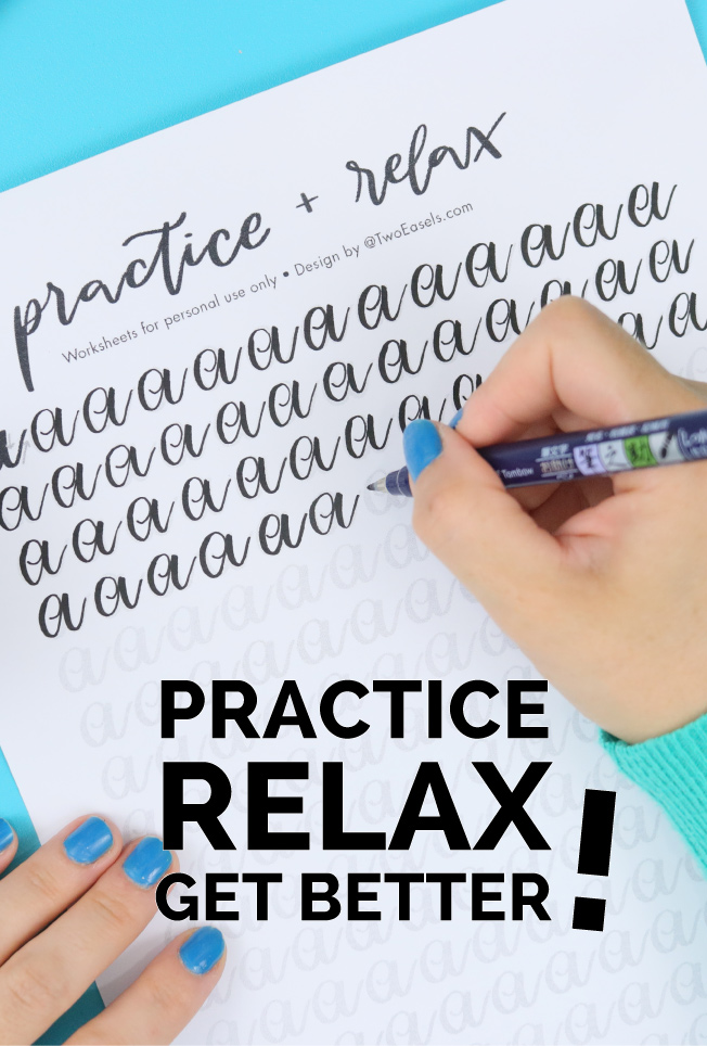 practice and relax with these brush lettering worksheets by TwoEasels