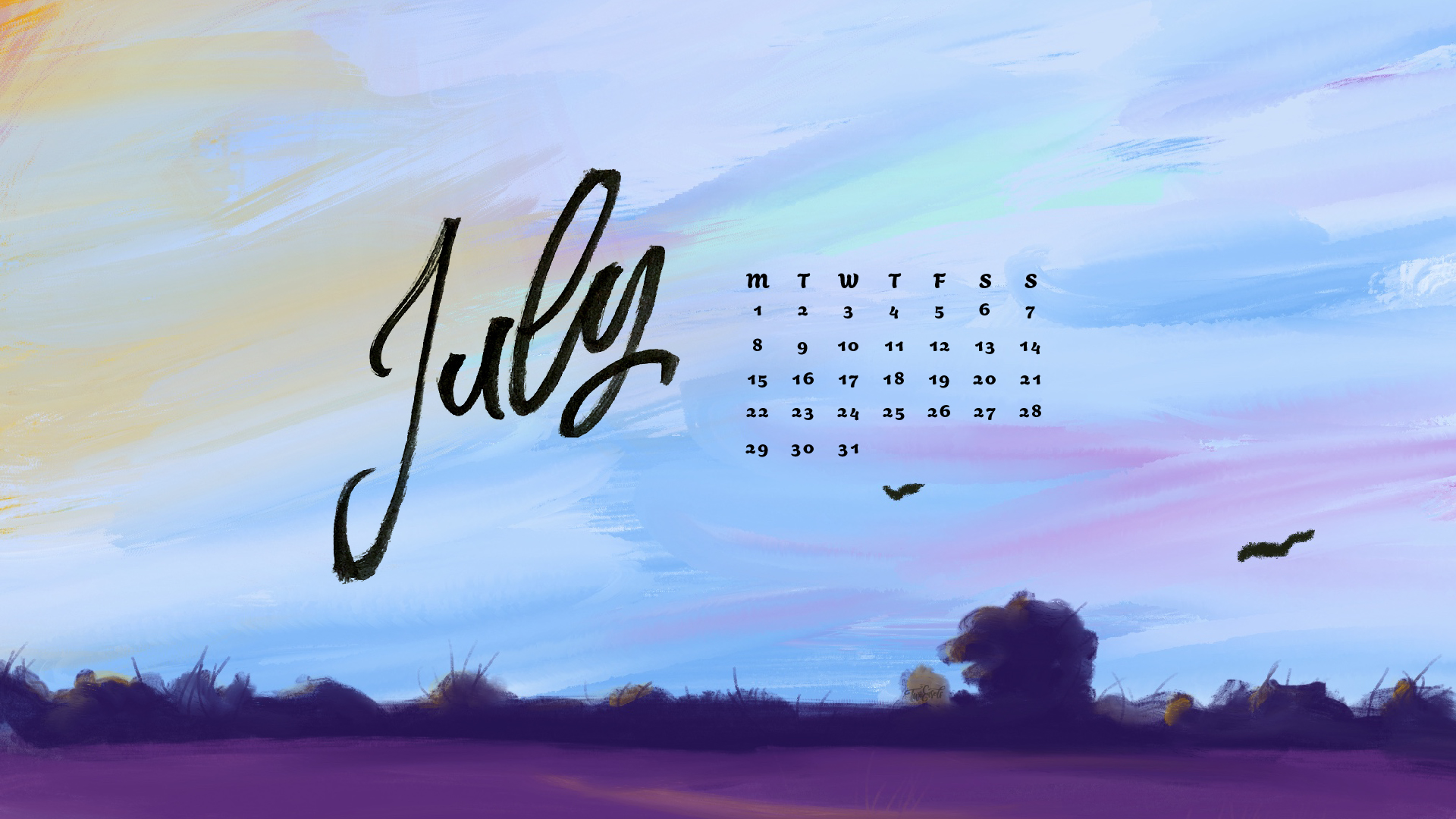 Free July 2019 wallpaper for phone and desktop