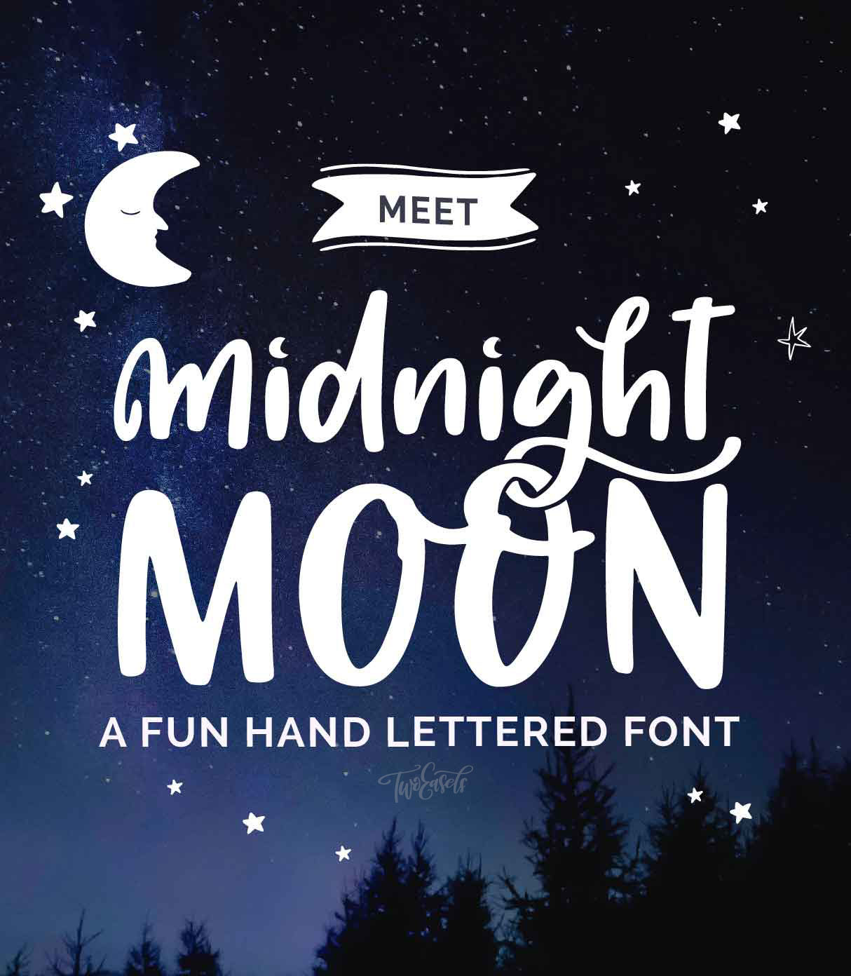 Midnight Moon Font - hand lettered by TwoEasels fun and cute typeface