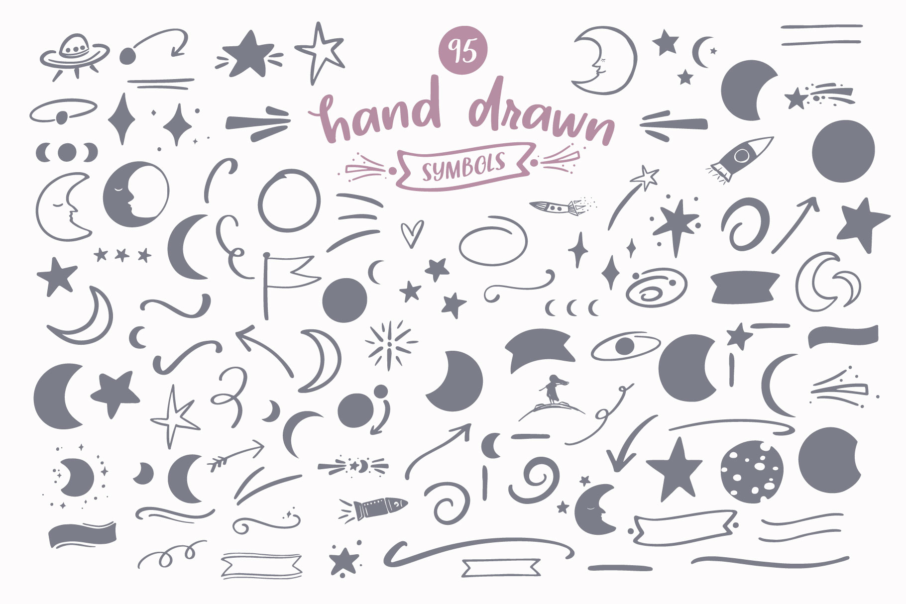 95 hand drawn symbols with font Midnight Moon, galaxy and stars graphics