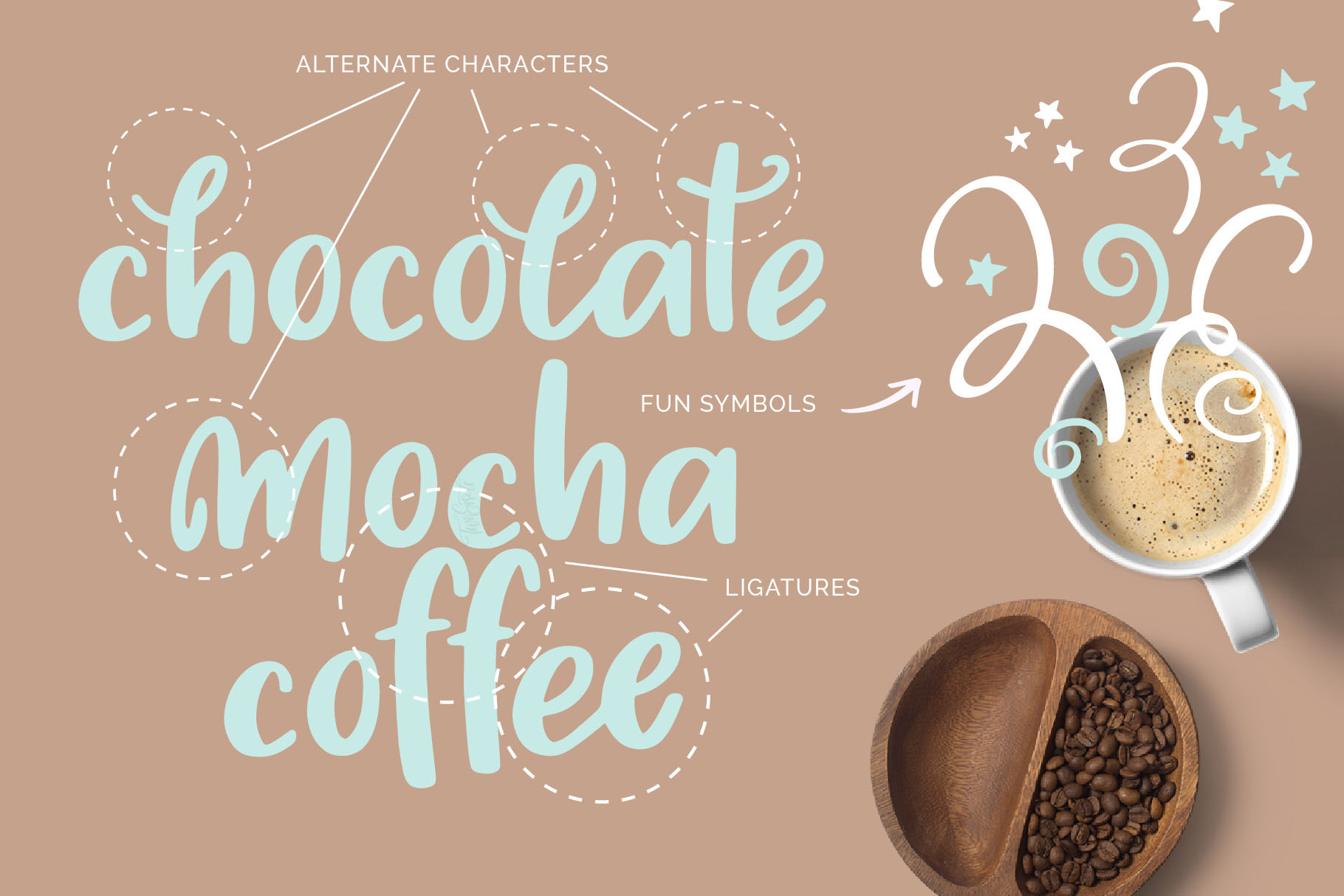 font fun ligatures with midnight moon typeface