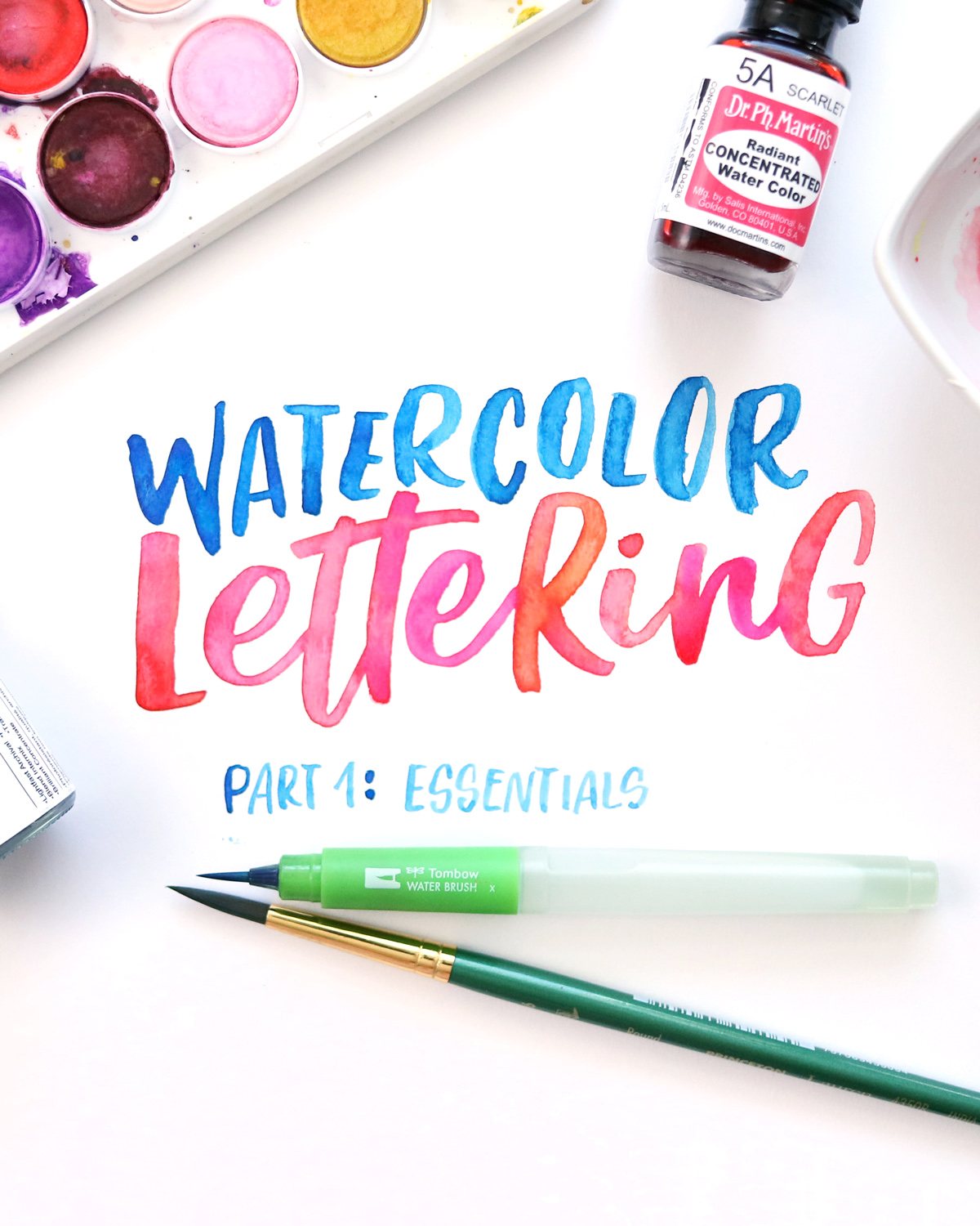 Learn the basics of watercolor paints and brushes