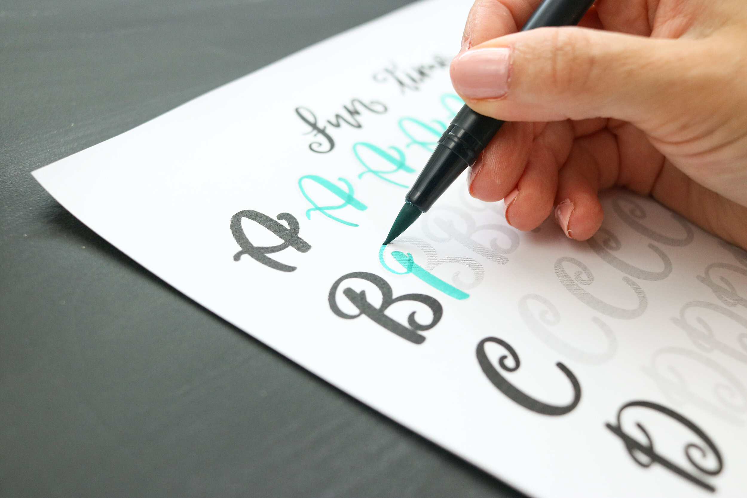 Using a Tombow dual brush pen on new Fun Time lettering worksheets