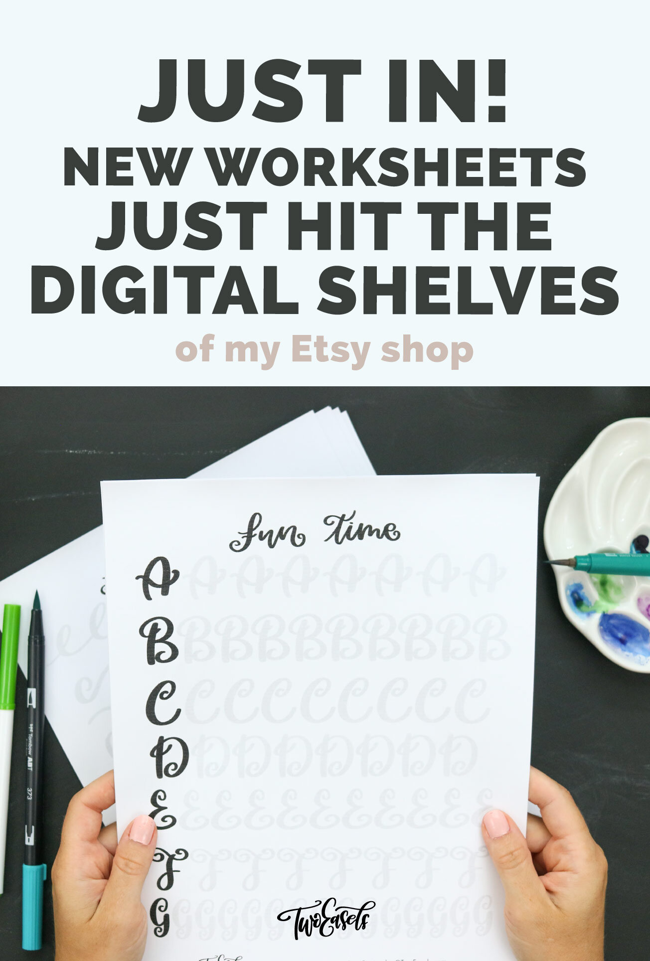 New brush lettering Fun worksheets are now available at my Etsy shop.