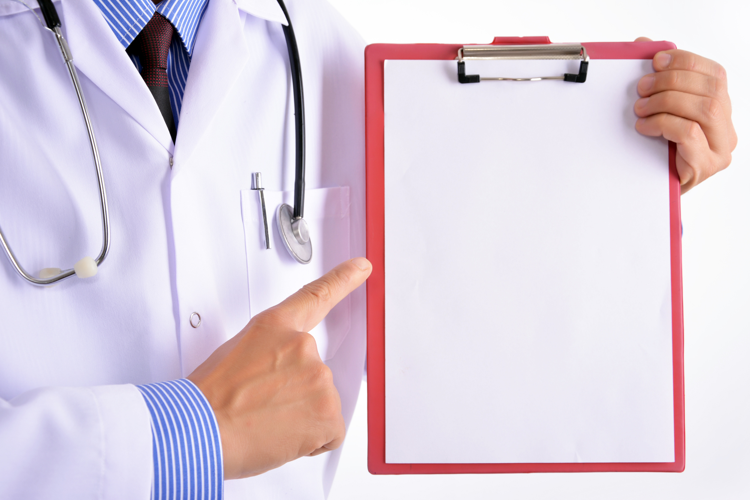 Doctor showing clipboard