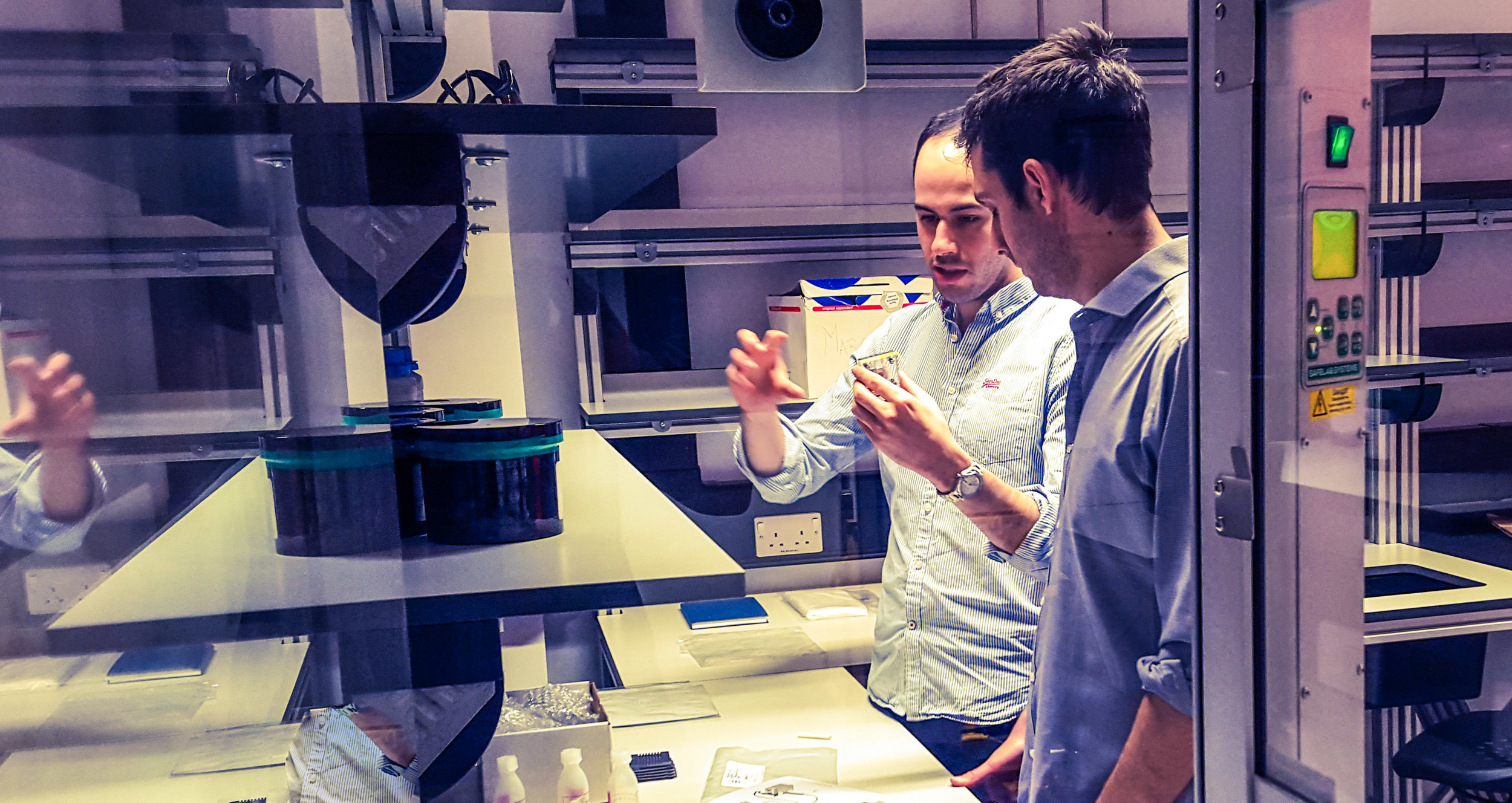 Marcelo Lozada together with Thanasis Georgiou during the design phase of Eksagon's lab