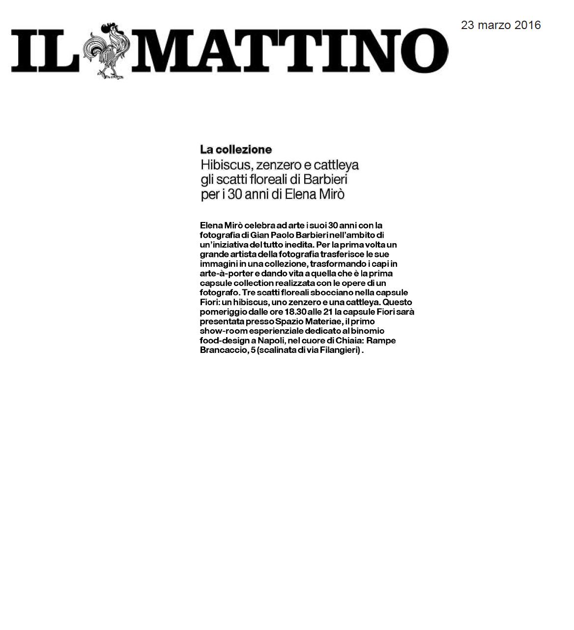 Il Mattino - Capsule Collection Elena Mirò con le foto di Gianpaolo Barbieri a Napoli - Spazio Materiae
