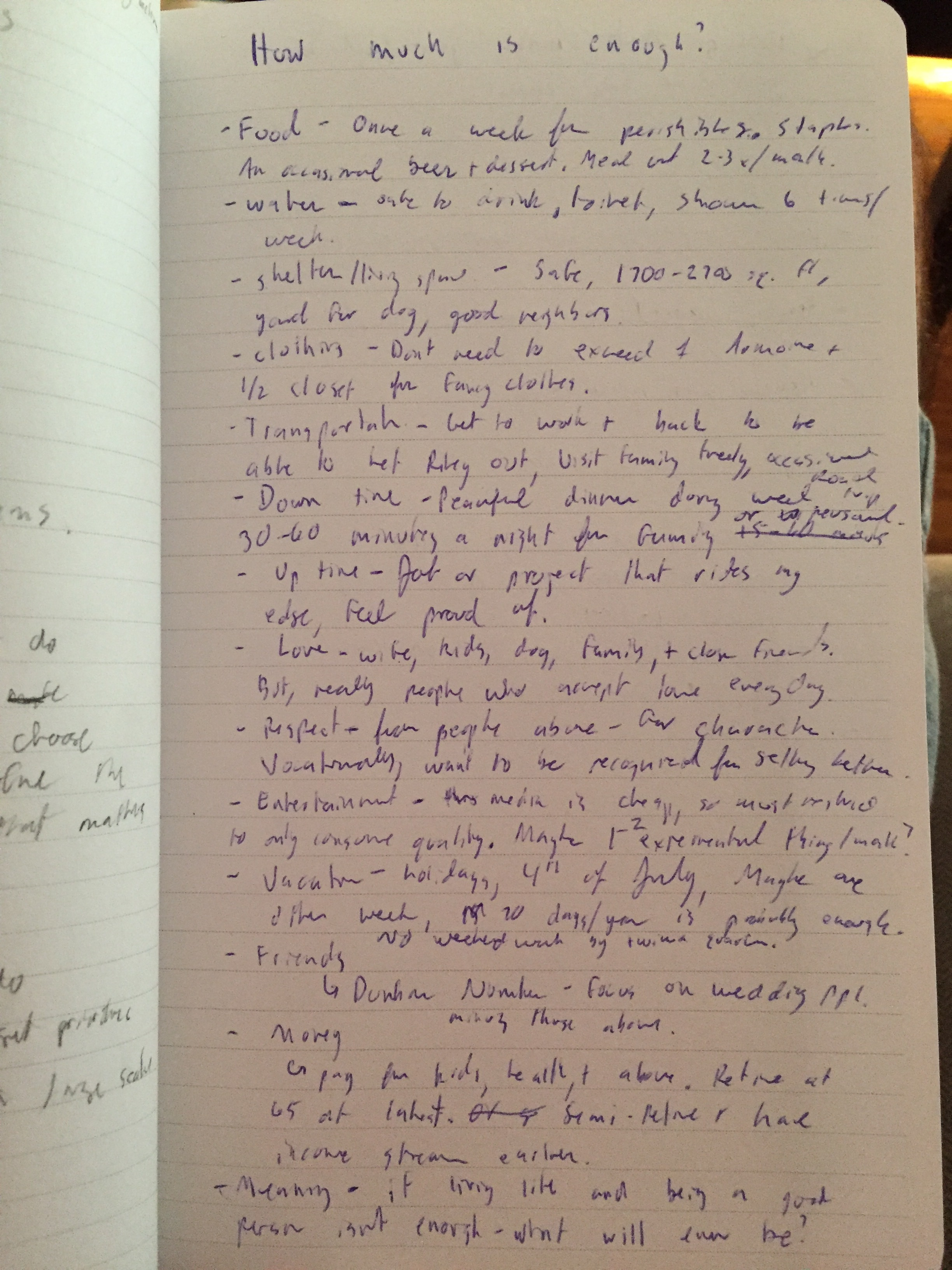 "The ""Enough List"" from my notebook."
