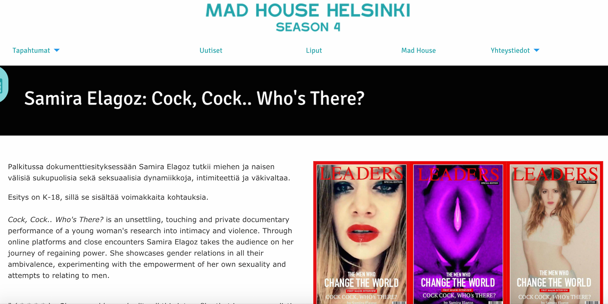My Finnish debut at MAD HOUSE Helsinki 13 - 14.1.2017