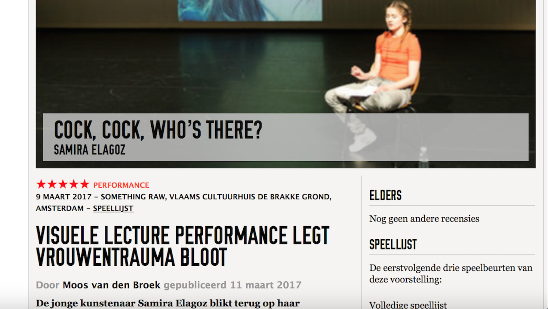 * * * * * review on Theaterkrant
