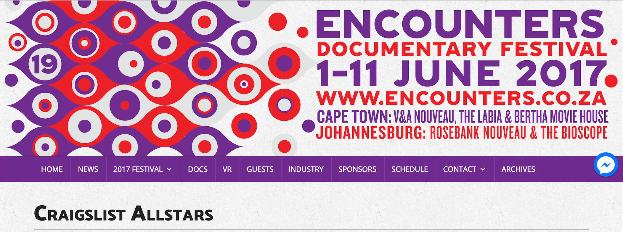 Craigslist Allstars at the Encounters South African Documentary film festival 2nd & 5th of June Cape Town + 9th Johannesburg