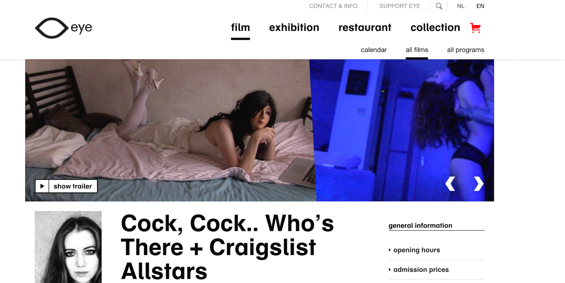 On 15th of June Craigslist Allstars & Cock, Cock.. Who's There? EYE Film museum starting 8pm!!