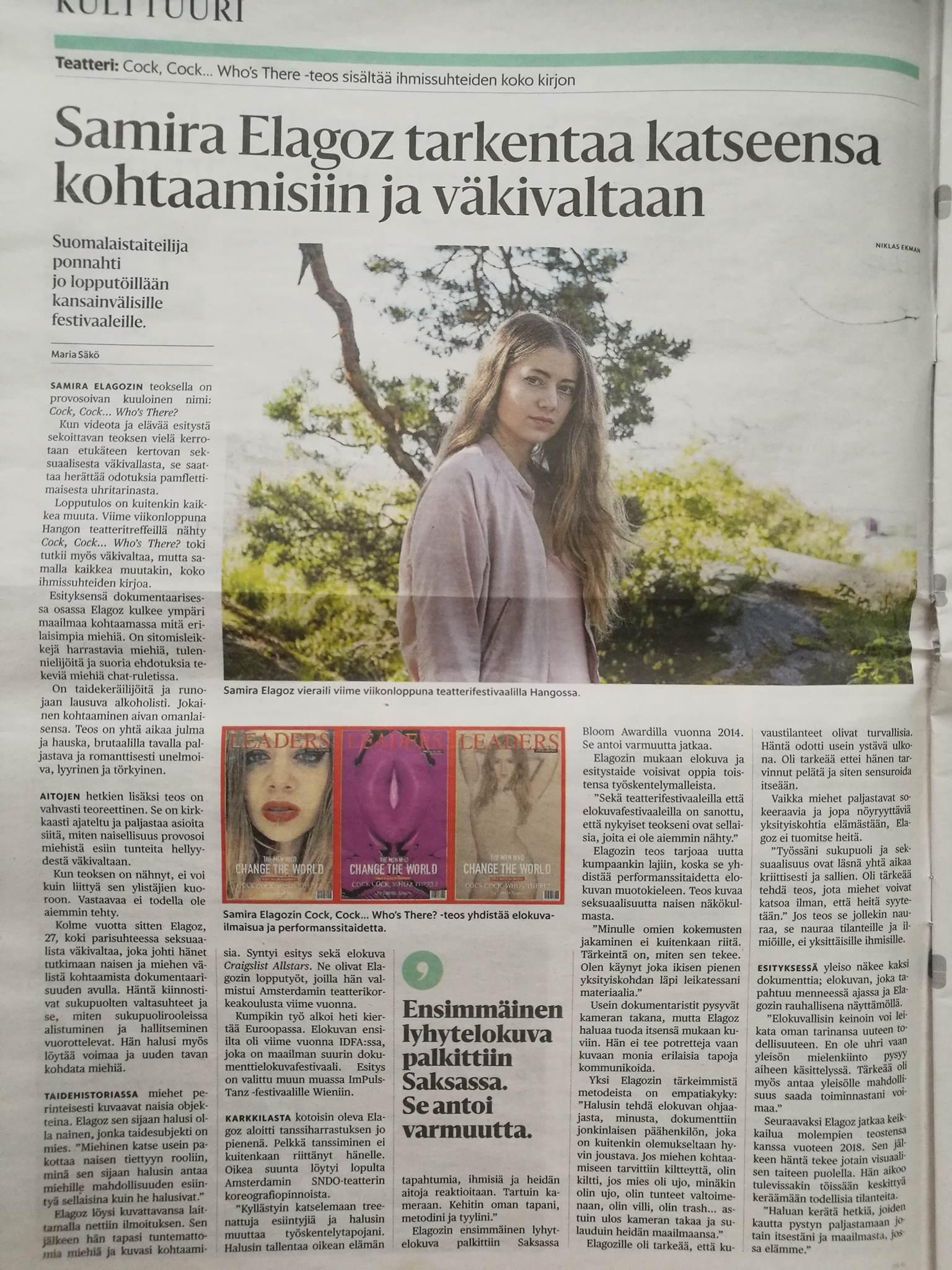 Great article for the Finnish magazine Hesari by Maria Säkö. http://www.hs.fi/kulttuuri/art-2000005254326.html