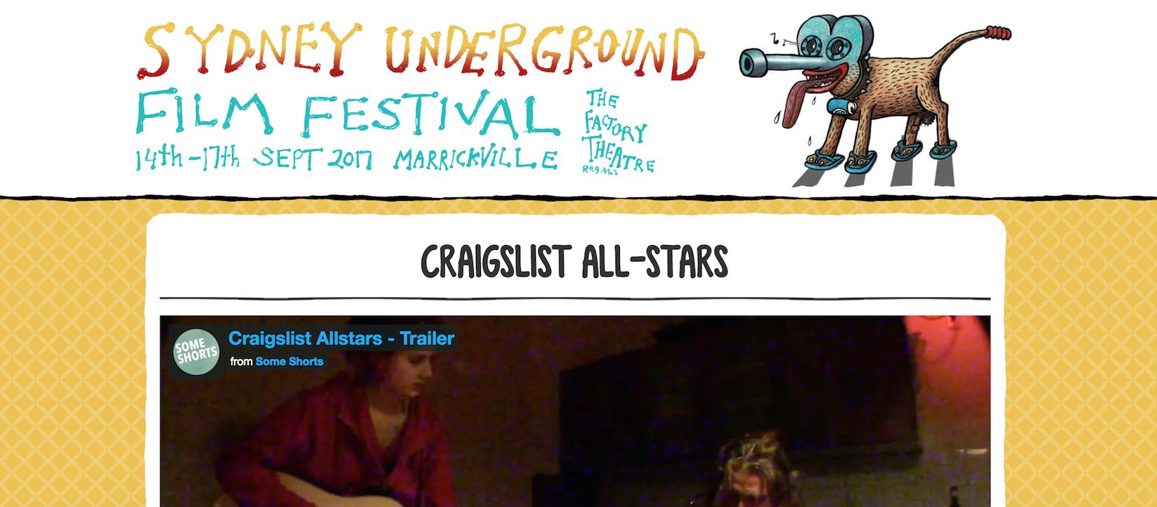 Craigslist Allstars at the Sydney Underground Film Festival 16th of September