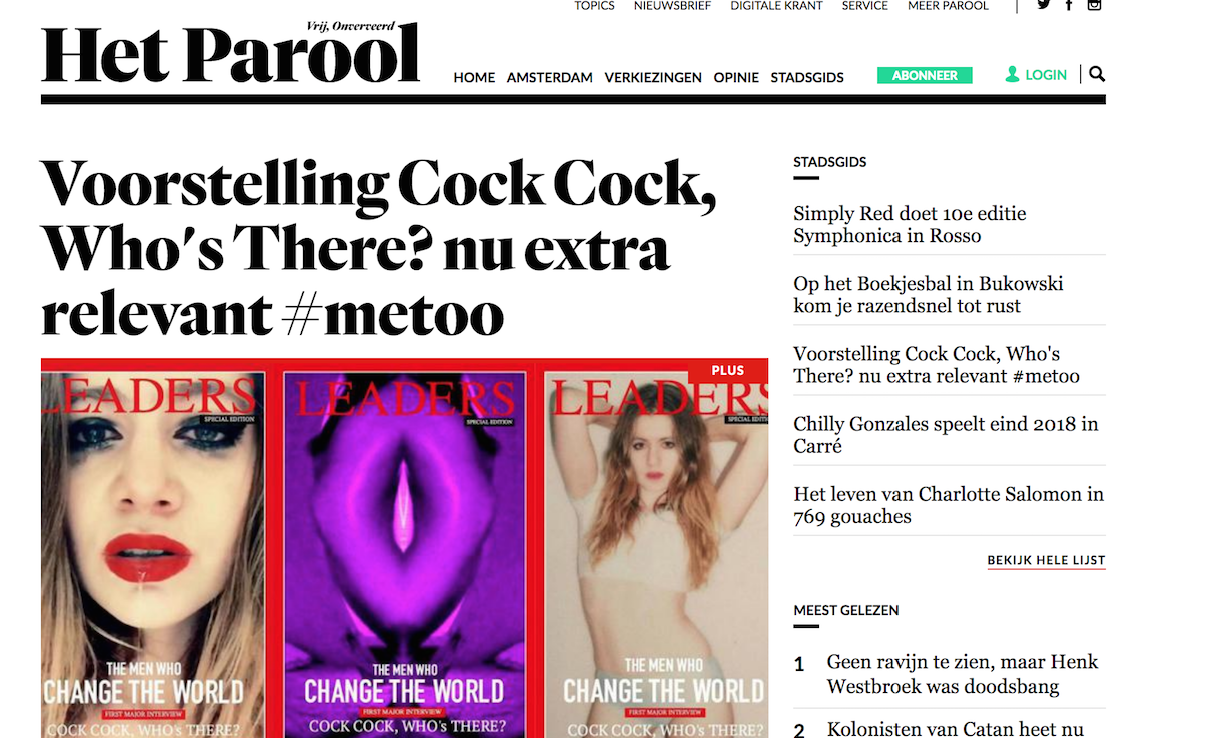 Het Parool Interview. Cock, Cock.. Who's There? at Theater Bellevue 25th & 26th of October