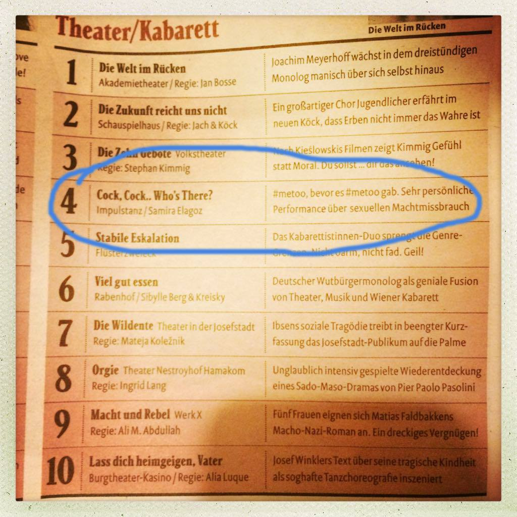 Cock, Cock.. Who's There? in the top 10 theatre highlights by Falke Magazine, Austria