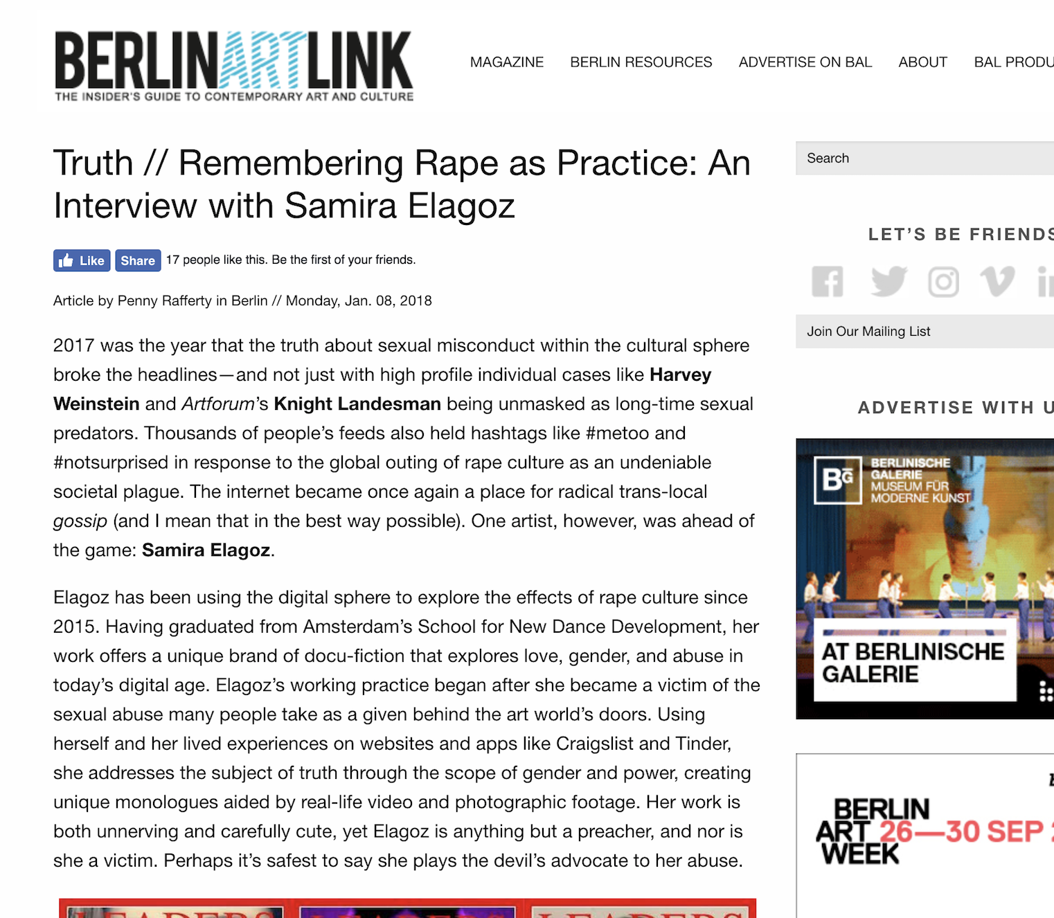 """BERLIN ART LINK     Interview:  """"One artist, however, was ahead of the game: Samira Elagoz. Elagoz has been using the digital sphere to explore the effects of rape culture since 2015."""""""