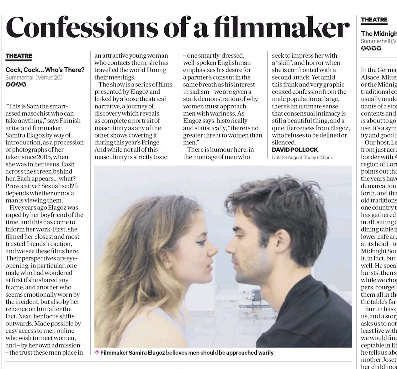 """SCOTSMAN    Review:  """"  ( ★★★★)  ..there's an ultimate sense that consensual intimacy is still a beautiful thing"""""""