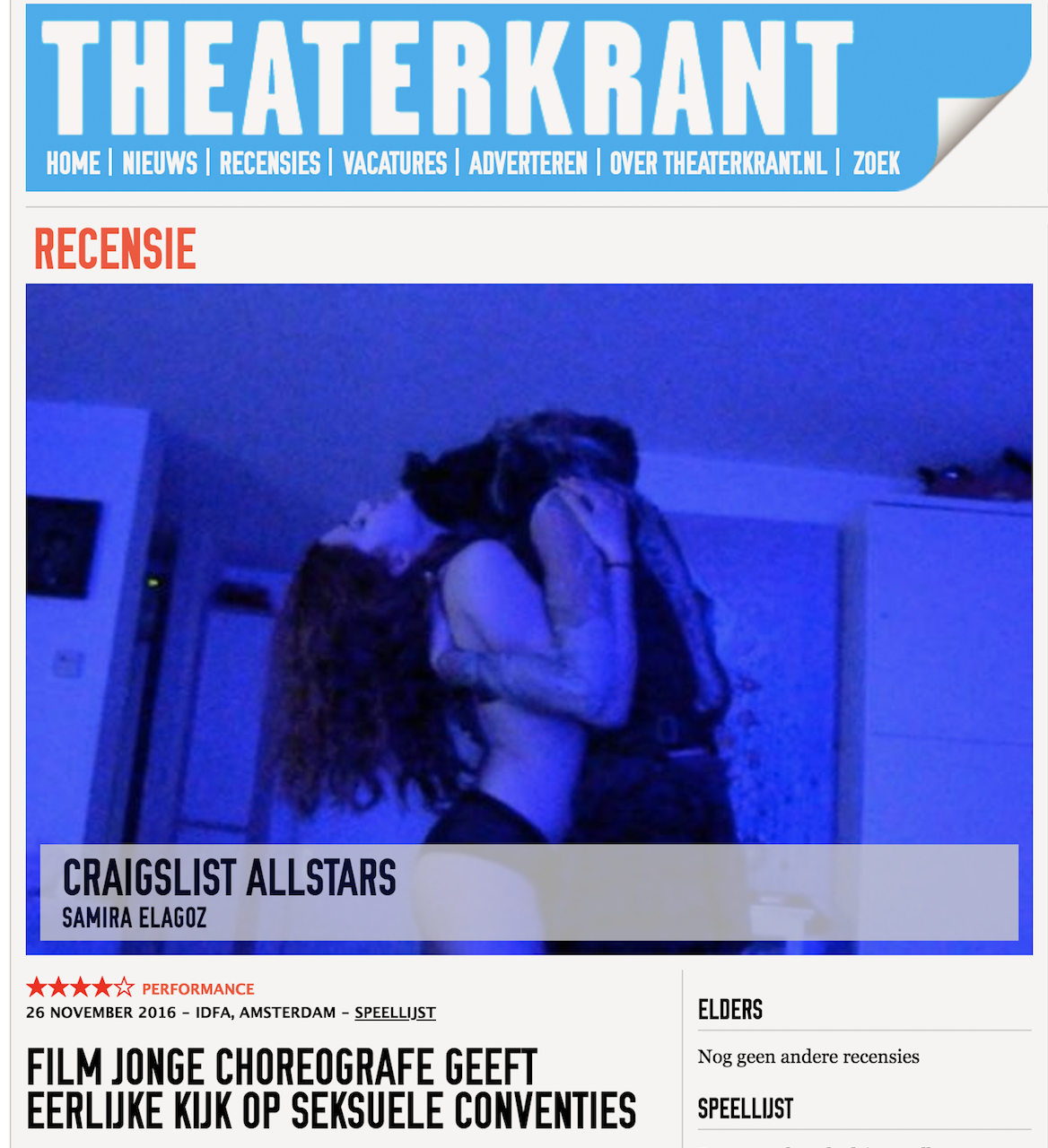 """THEATERKRANT.NL     Review: ( ★★★★★)  """"Sincerely and with much vulnerability, she questions sexual role patterns."""""""