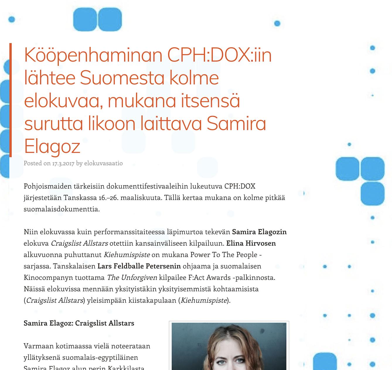 """SESSIO.FI     Interview: """"Finnish films at CPH:DOX"""""""