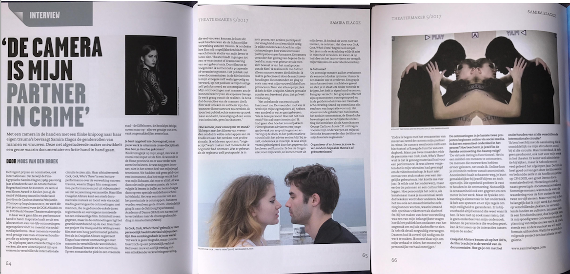 """THEATERMAKER MAGAZINE     Interview: """" The camera is my partner in crime"""""""
