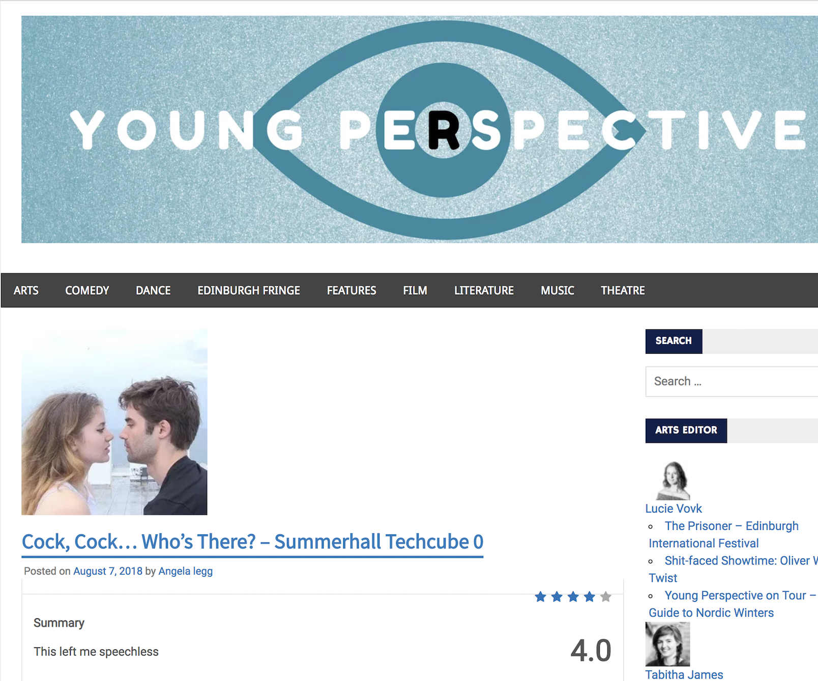 """THE YOUNG PERSPECTIVE     Review:  """"  ( ★★★★ )  This is a hard-hitting, graphic and difficult piece of theatre.."""""""
