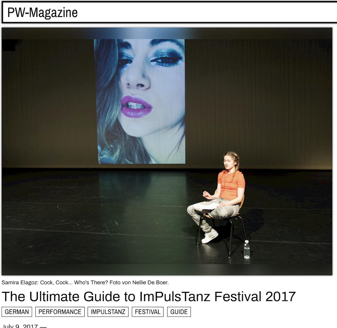 PW MAGAZINE     Recommendations for Impulstanz Festival