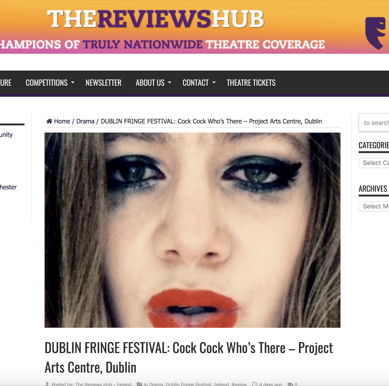 """The Reviews Hub     Review: """"(★★★★ ½  )  turns an archeological gaze on its audience, sexual violence, and itself."""""""