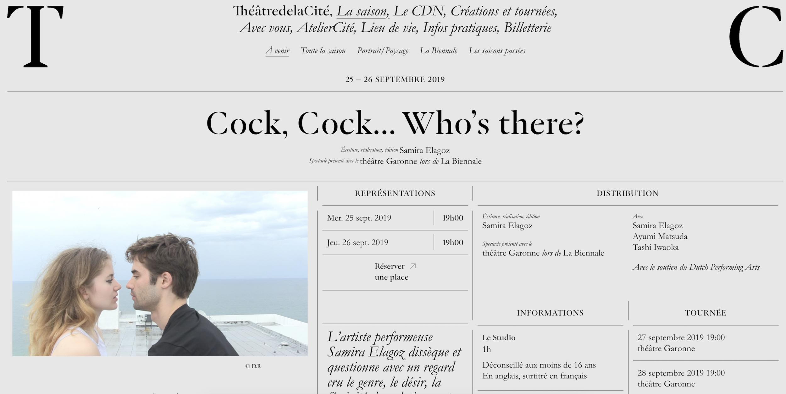 Cock, Cock.. Who's There? @ La Biennale in Toulouse, Théâtre De la Cité 25th + 26th of September