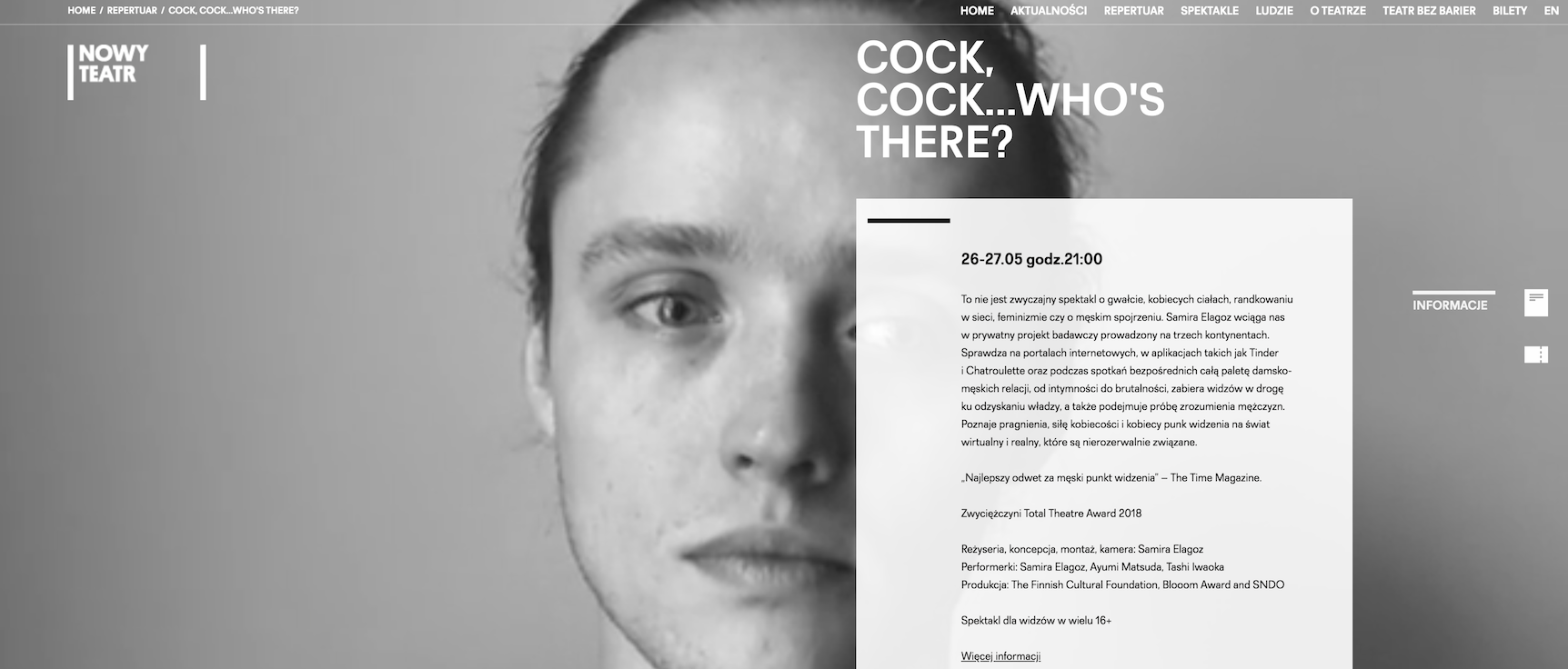 Cock, Cock.. Who's There? @ Nowy Teatr, Warsaw 26th + 27th of May