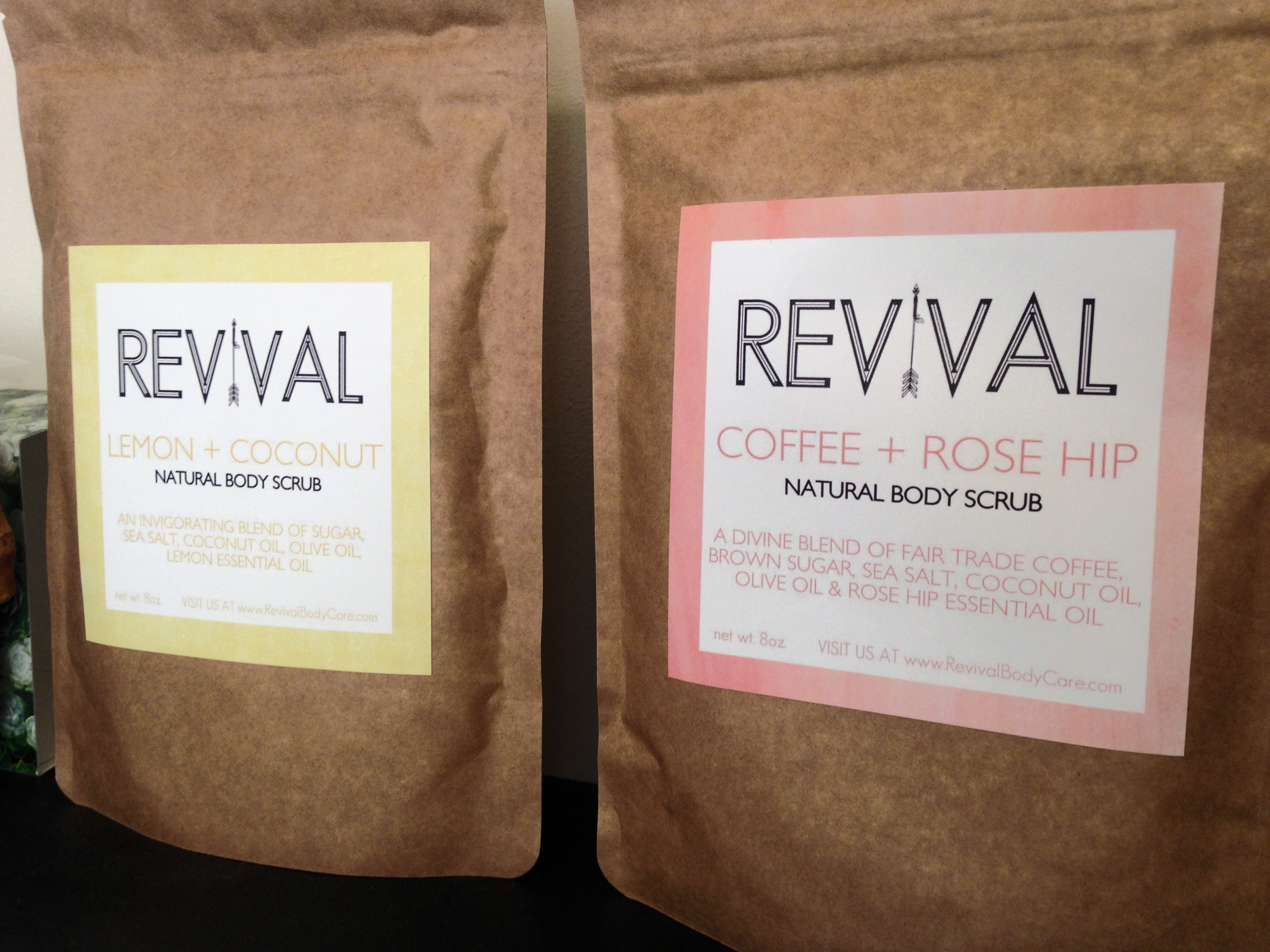 Lemon + Coconut and Coffee + Rose Hip natural body scrubs