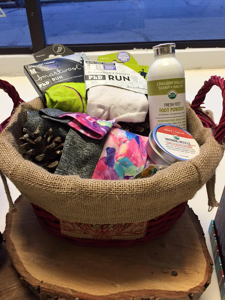 Runners Paradise Package $120  - LuLaRoe Jordan Running Leggings, 2 pair of Smartwool Running Socks from Arthur's Shoe Tree. Fresh Feet Foot Powder & Warming Muscle Salve from Chagrin Valley Soap & Salve Company