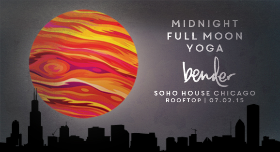 "Midnight Full Moon Yoga | Soho House Chicago   Sun salutations under a summer full moon. On the  Soho House  rooftop, BENDER hosts a midnight vinyasa yoga class, set against a backdrop of open sky and city lights. DJ Hummingbird provides deep, nocturnal and atmospheric sound selections; played through ""Sound Off"" wireless headphones -- which will let you hear the instructor at the perfect level and immerse you in a journey through movement and sound."