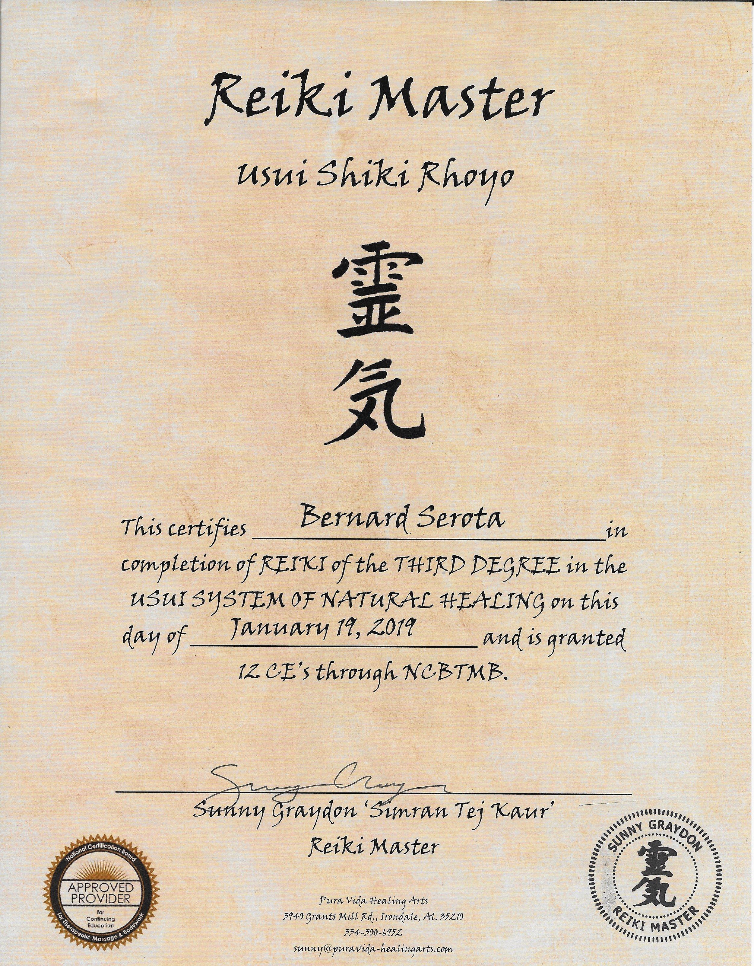Bernard Serota - Reiki Master Certification