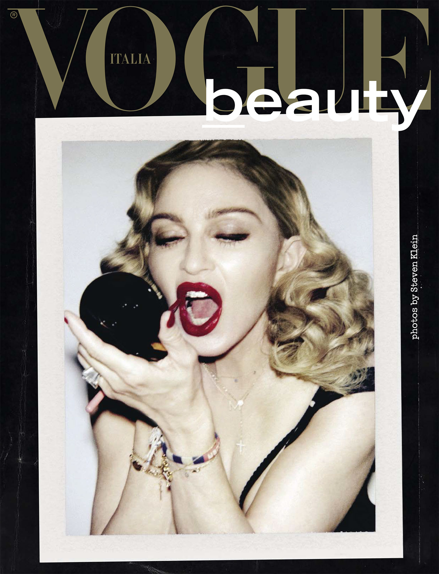 Madonna in the Let's Dance Black Onyx Necklace in Vogue Italia February 2017
