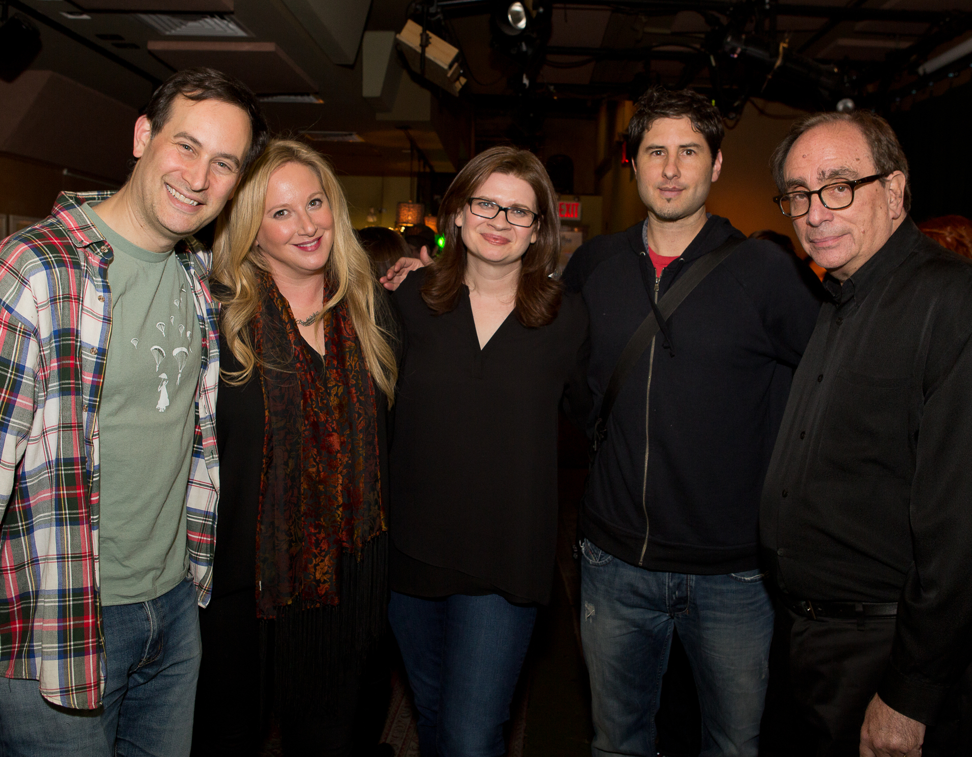The cast of our first show, March 2015 : David Levithan, Leigh Bardugo, Emmy Laybourne, Matt De La Peña, and RL Stine.