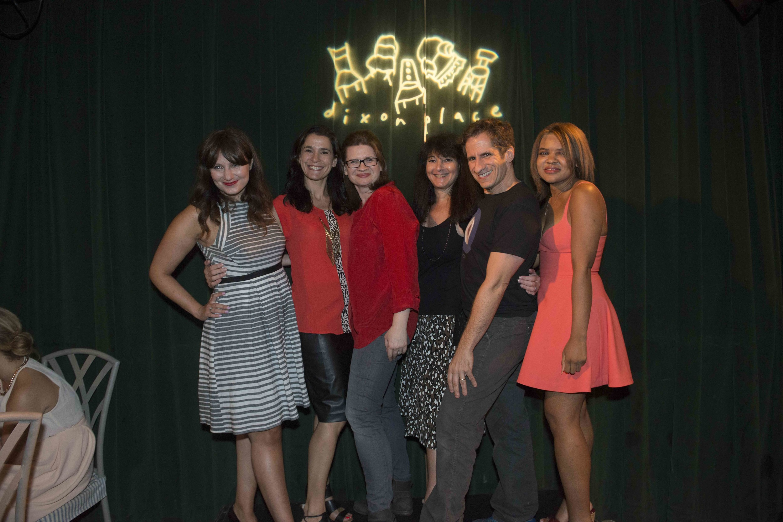 Hanging out in the lounge after our show on September 17, 2015 - Kass Morgan, Joy Peskin, Emmy Laybourne, Susan Shapiro, Seth Rudetsky, and Danielle Paige. We did not co-ordinate the coral/black and white wardrobe, I swear!