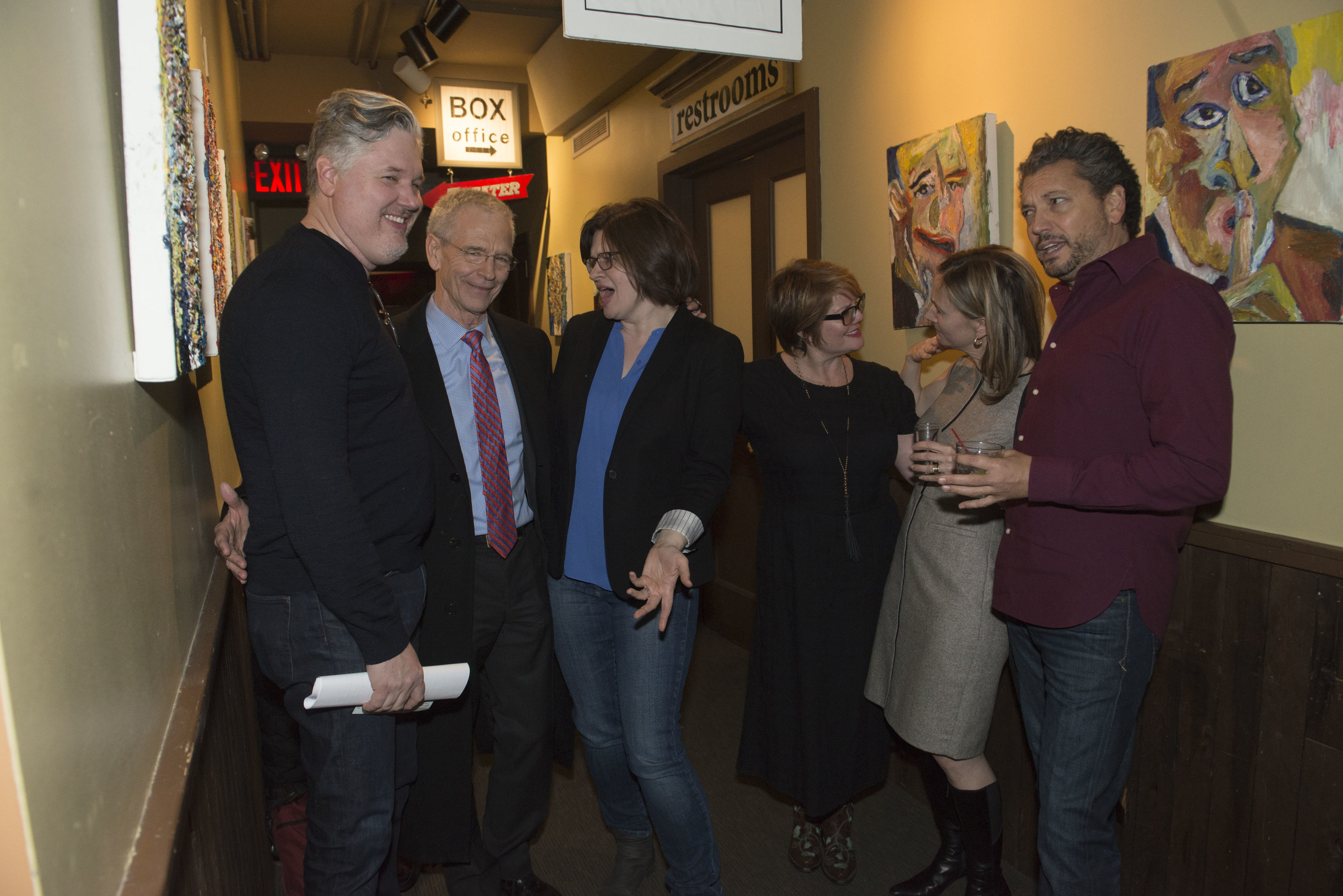 Michael Buckley, David Martin, Emmy Laybourne, Libba Bray, Annabel Monaghan and Anthony Schneider chat it up after the show on January 22, 2016.