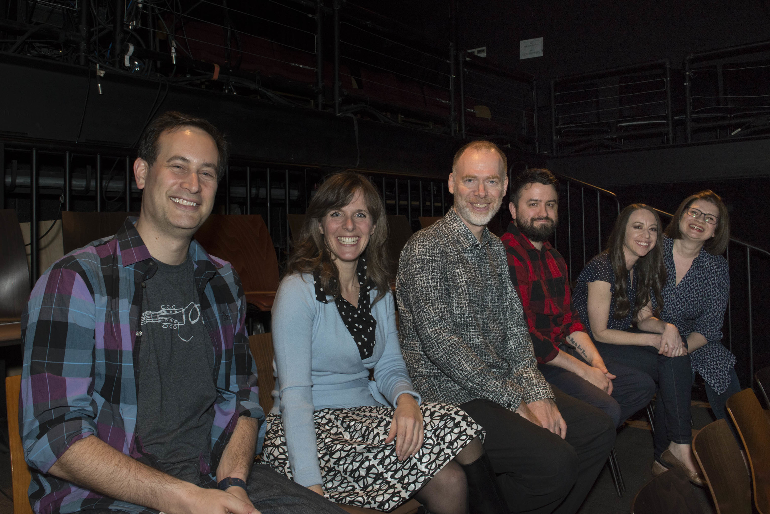 The Cast of our show on March 17th, 2016 - David Levithan, VC Chickering, Scott Westerfeld, David Arnold, Jessica Brody and you-know-who.