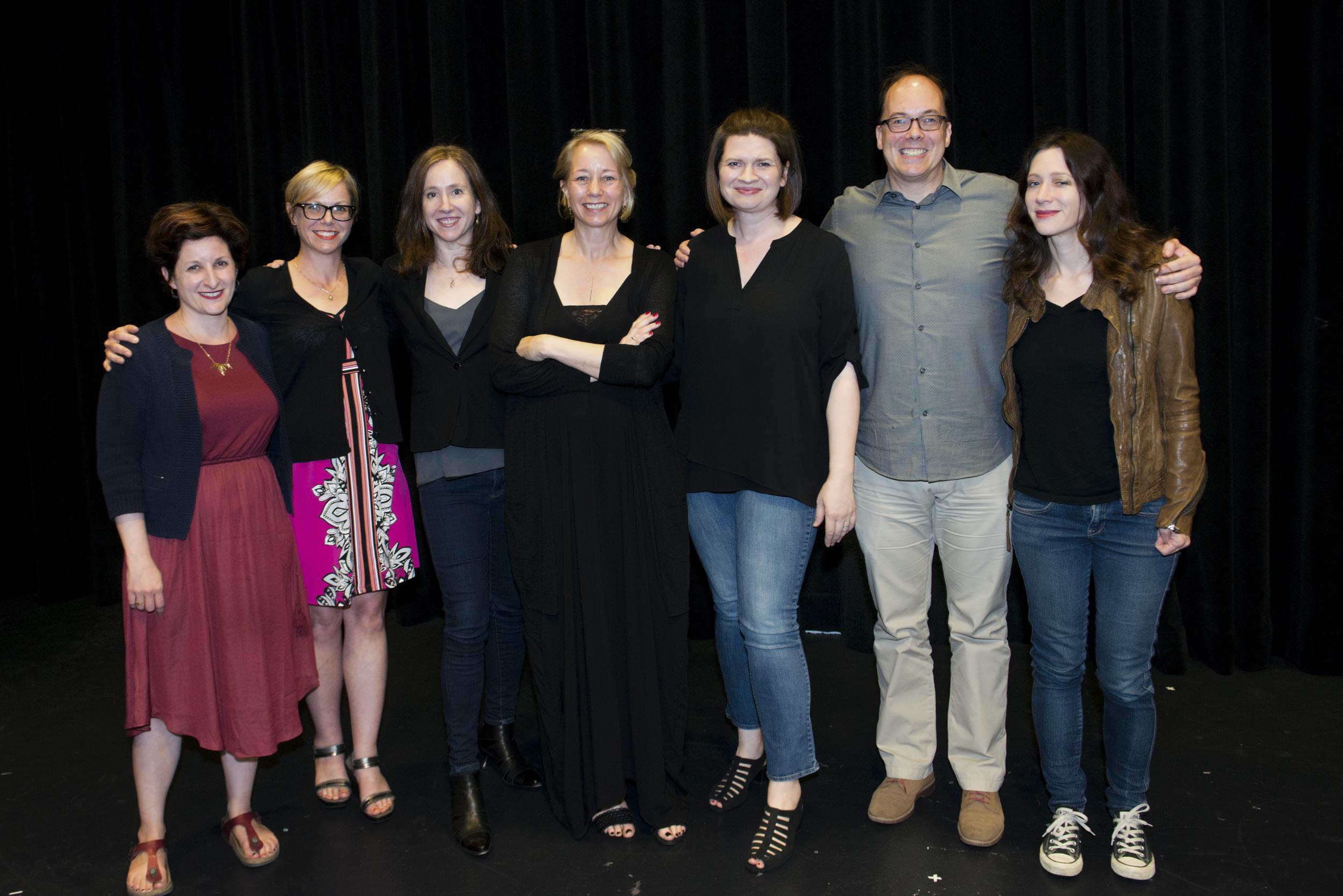 The cast of our show on June 9th, 2016: Meg Leder, Rita Arens, Beth Hahn, Laura Lippman, Emmy Laybourne, Michael Northrop and Marie Rutkoski