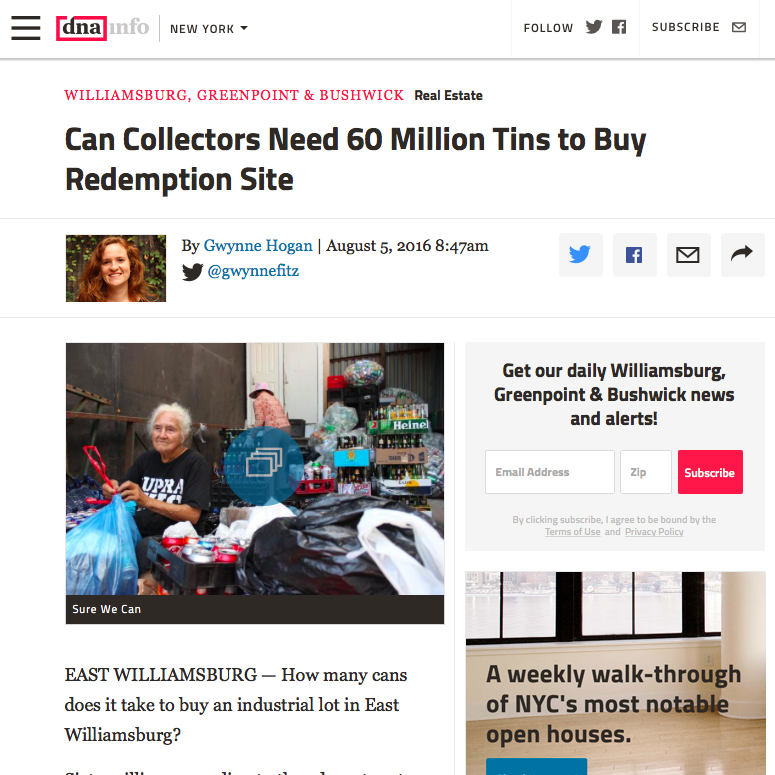 """Online News: CAN COLLECTORS NEED 60 MILLION TINS TO BUY REDEMPTION CENTER,  Gwynne Hogan for DNA Aug 2016   """"If this closes a lot of people will lose these opportunities,"""" said Agustina Besada, the Director of Sure We Can. About 400 canners use the facility in total and around 100 people redeem recyclables on any given day, she said.  Read more"""