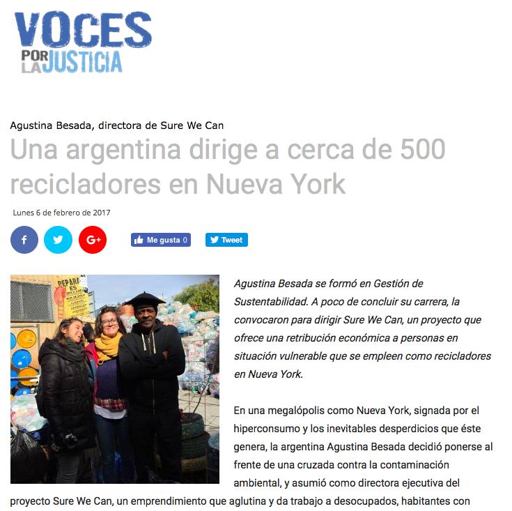 """Online News: UNA ARGENTINA DIRIGE A CERCA DE 500 RECICLADORES EN NUEVA YORK,  Voces por la Justicia   Feb 2017 [spanish]    """" Al mismo tiempo que recuperamos lo que para unos son descartes y para otro son recursos, revalorizamos y dignificamos el trabajo de los recuperadores urbanos y su rol en la sociedad """"  Read More"""