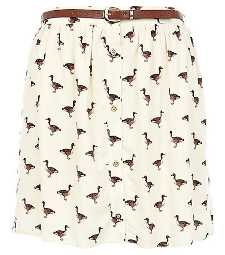 Duck Print Skirt from  River Island