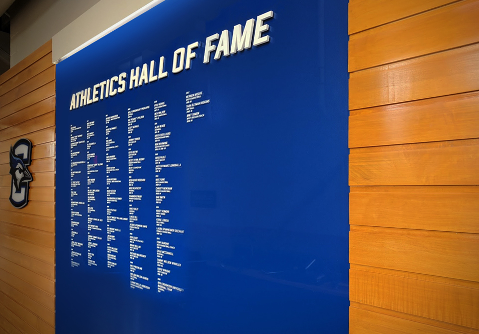 beyond the court:the concourse. - Newly designed centerpieces in both concourses gave fans spaces to admire Bluejay legends and take pride in teams' accomplishments.