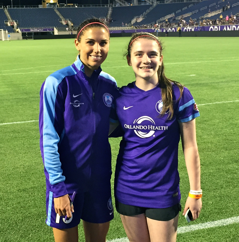 LiveGirl Elizabeth (from New Canaan) meets soccer super star Alex Morgan!