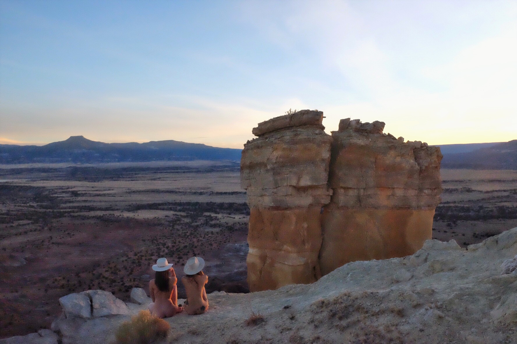 Holly and I up on Chimney Rock during the Full Blue Moon, Abiquiu.